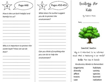 Ecology for Kids Trifold - Journeys 4th Grade Unit 3 Week
