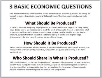 Economics-3 Basic Economic Questions Handout/Poster