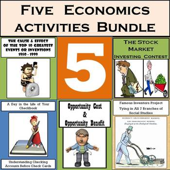 Middle School Economics: Stocks, Checks, Cost/Benefit, & 2