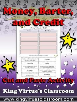 Economics: Money, Barter, and Credit Vocabulary Words Cut