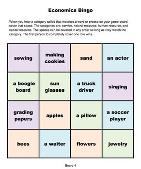 Economics Review Bingo
