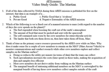 Economics Video Study Guide: The Martian