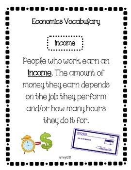 Economics Vocabulary for Elementary