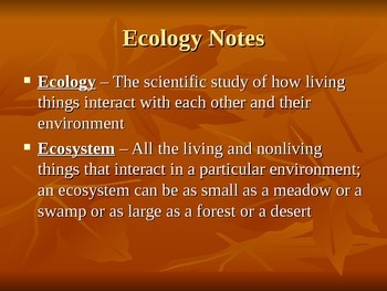 Ecosystems - Unit Notes