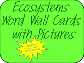 Ecosystems Visual Word Wall Cards (NC Grade 8 Essential Sc