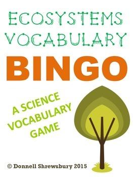 Ecosystems Vocabulary Definition Bingo