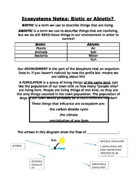 Ecosystems notes, Biotic and Abiotic