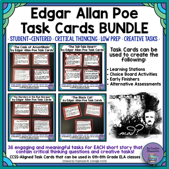 Edgar Allan Poe Bundle: Short Story Task Cards with EDITAB