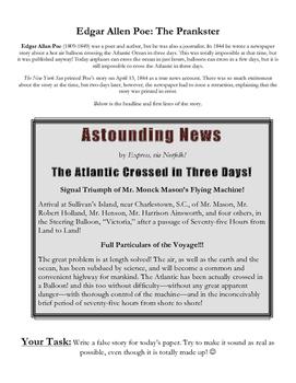 Edgar Allen Poe - Newspaper Prankster