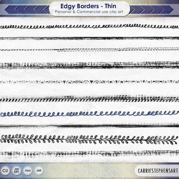 Edgy Thin Borders, Light Grunge Distressed Page Borders