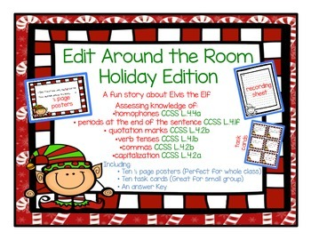 Edit Around the Room: Holiday/Elf Edition! Editing CCSS Aligned!