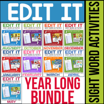 Edit It - A Year of EDITABLE Sight Word Activities (Growin