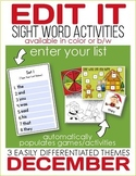 Edit It for December Sight Word Activities-Differentiated