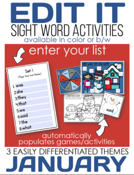 Edit It for January Sight Word Activities-Differentiated (