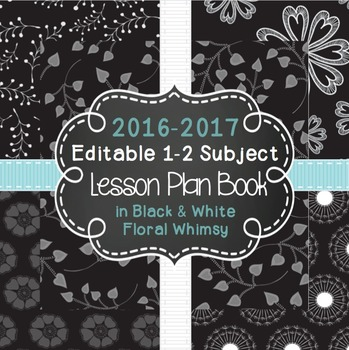Editable 1-2 Subject Lesson Plan Book {2016-2017} in Black
