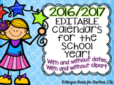 Editable 2016/2017 School Year Calendars! Printer Friendly!