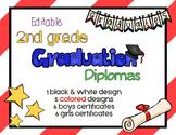 Editable 2nd Grade Graduation Diplomas