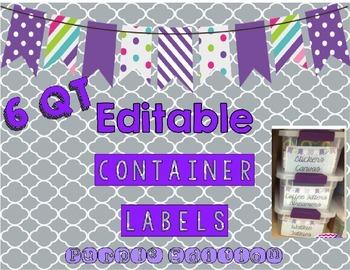 Editable 6 QT Container Labels Purple Edition
