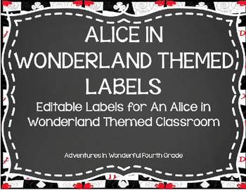 Editable Alice in Wonderland Themed Classroom Labels