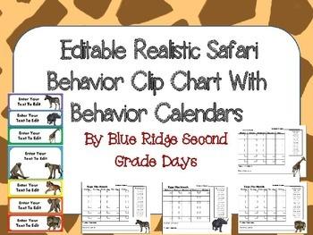 Editable Animal Behavior Chart and Editable Behavior Calendars