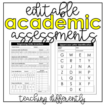 Editable Assessments {Special Education or RTI Data Binder}