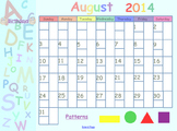 Editable August 2014 SmartBoard Calendar