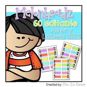 Editable Avery Labels 8163 { Melonheadz Theme} 60 Editable