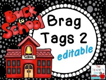 Editable Back to School Brag Tags Set 2