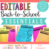Editable Back to School Essentials
