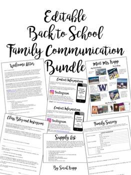 Editable Back to School Family Communication Bundle