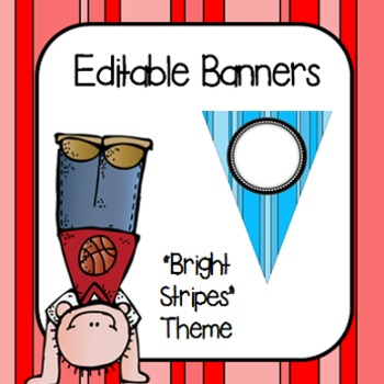"Editable Banners- ""Bright Stripes"""