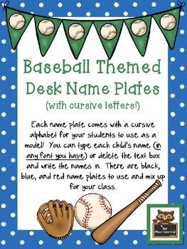 Editable Baseball & Polka Dot Themed Cursive Name Desk Plates