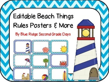 Editable Beachy Things Rules Posters
