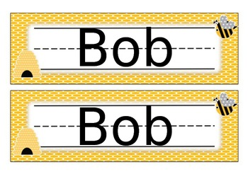Editable Bee Name Tags Desk Plates