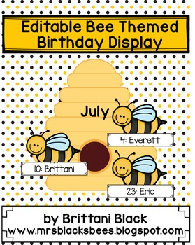 Editable Bee Themed Birthday Display