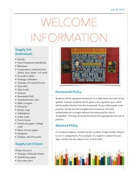 Beginning of the Year Information Letter