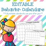 Editable Behavior Calendars - 2016 - 2017 PLUS yearly updates!