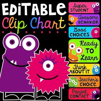 Editable Behavior Clip Chart {Monsters Edition}