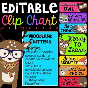 Editable Behavior Clip Chart {Woodland Critters Edition}