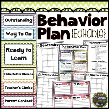Editable Behavior Plan {Chevron Classroom Set}