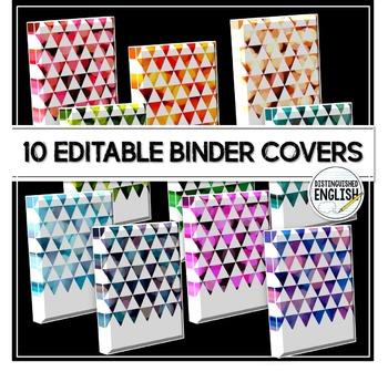 Editable Binder Covers -- 10 Triangle Bokeh Designs