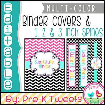 Black and Pink Chevron Binder Covers