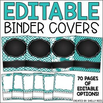 Teacher Binder Covers - Editable Teal and Chalkboard