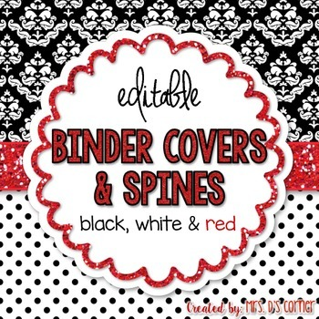Editable Binder Covers { Black White and Red } with Editab