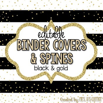 Editable Binder Covers { Black and Gold } with Editable Spines