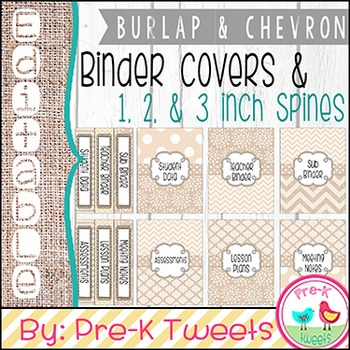 Editable Binder Covers - Burlap and Chevron