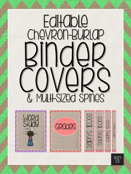 Editable Binder Covers - Rainbow Chevron (and spines!)
