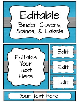 Editable Binder Covers, Spines & Labels - Blue and Gray