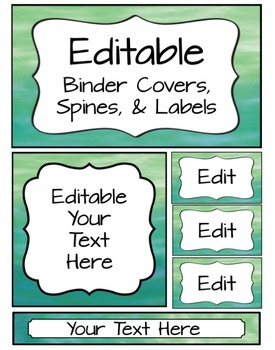 Editable Binder Covers, Spines & Labels - Watercolor
