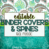 Editable Binder Covers ( Teal Mosaic )